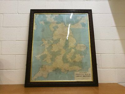 Mid C.1953 Map. Huge Antique Frame. Stanford's Political Map of Great Britain.