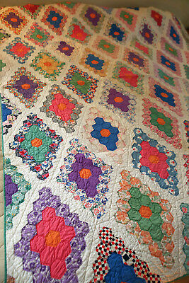 Lovely Antique Hand Pieced and Hand Sewn Flower Garden Quilt Vintage cottons