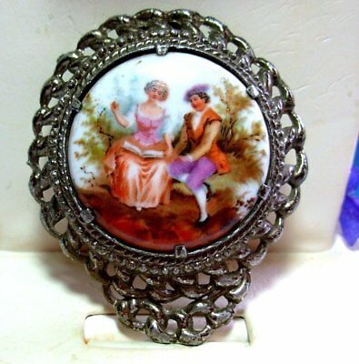 Vtg Antique Victorian Hand Painted Romantic Couple Dress Clip Cameo Brooch