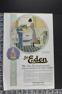 1920 Household Eden Auto Washing Machine Laundry Bath Room Vintage Ad Ec002