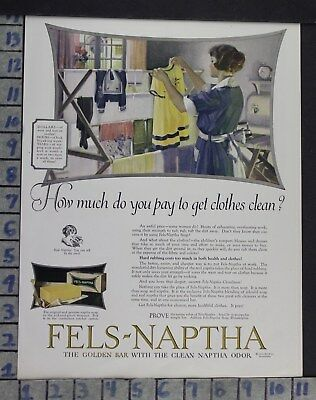 1924 Household Cleaning Laundry Fels Naptha Bar Soap Decor Vintage Ad Dm16