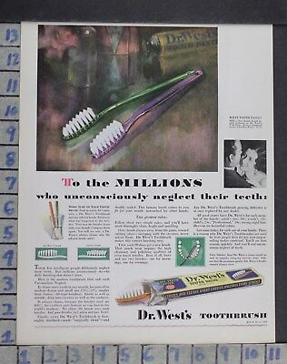 1930 Dentistry Medical Dr West's Toothbrush Clean Polish Vintage Ad Dm82
