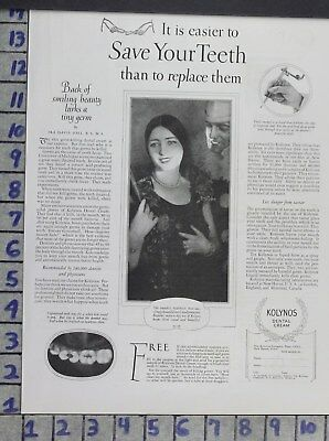 1926 Dentistry Medical Kolynos Dental Cream Toothpaste Beauty Vintage Ad Dv04