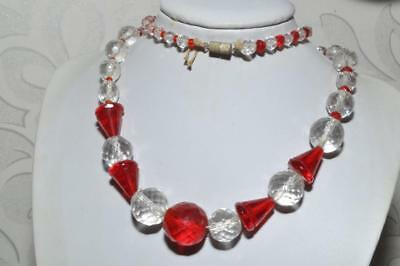 Gorgeous Vintage Necklace Of Classic Art Deco Geometric Glass Beads To Restring