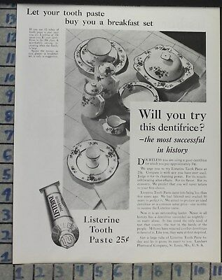 1929 Dental Medical Listerine Toothpaste China Set Breakfast Vintage Ad Cj15