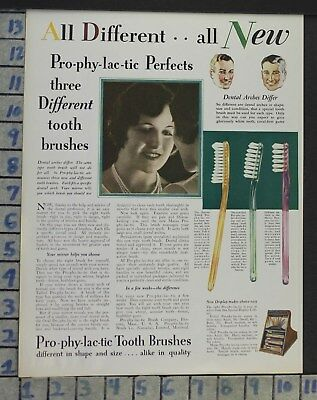 1928 Dental Medical Prophylactic Tooth Brush Health Beauty Vintage Ad Cj17