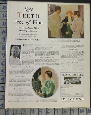 1927 Dental Medical Pepsodent Toothpaste Dentist Doctor Hair Vintage Ad Cj21