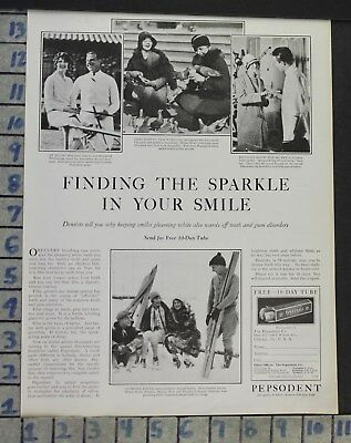 1928 Dental Medical Pepsodent Toothpaste Dentist Sport Skiing Vintage Ad Cj47