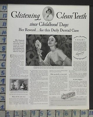 1928 Dental Medical Colgate Cream Toothpaste Marguerite Fish Vintage Ad Cj48