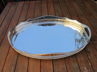 Large 1940's Oval Silver Plated Mirror Finish Gallery Tray 18 Inch Long