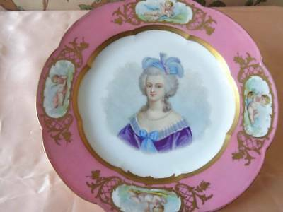 A Large Sévres Hand Painted Porcelain Plate Of Marie Antionette C.1872