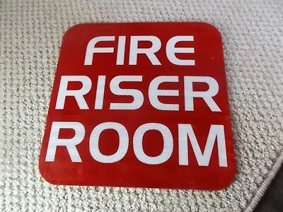 """Fire Riser Room Metal Red & White Lettering Sign 12"""" X 12"""""""
