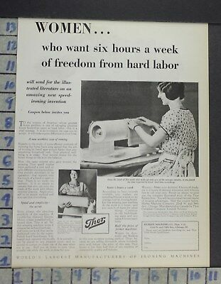 1929 Home Decor Laundry Room Thor Washing Machine Iron Hurley Vintage Ad Cp7