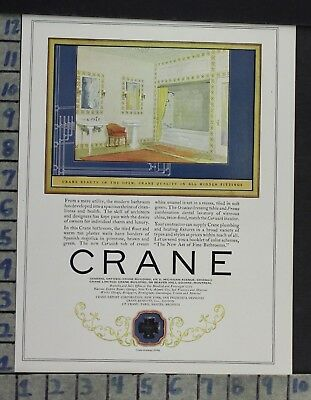 1925 Home Decor Bathroom Crane Plumbing Sink Bath Tub Design Vintage Ad Cp72