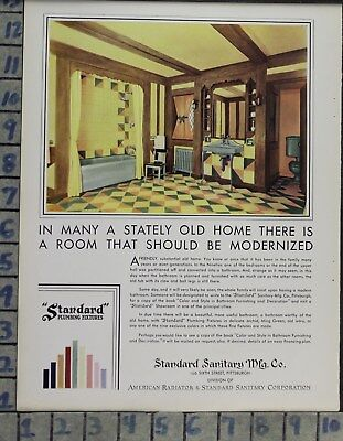 1930 Home Decor Bathroom Standard Plumbing Bath Tub Tile Sink Vintage Ad Cp91