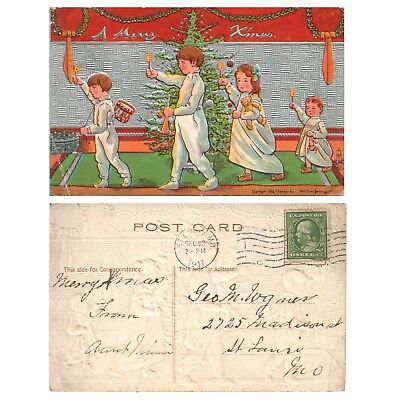 1908 Antique Embossed Postcard - A MERRY XMAS - Children w/ Candles & Tree