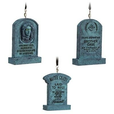 DISNEY Parks HAUNTED MANSION Tombstones Christmas Ornament Set of 3 NWT