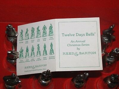 "Reed & Barton 12 Twelve Days of Christmas Silver Bells Ornaments Complete 3"" Set"