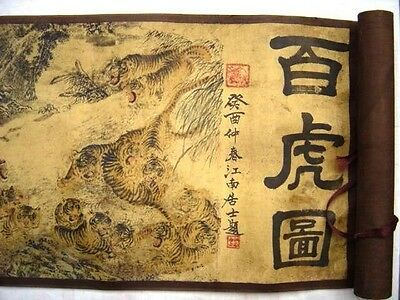 Exquisite OLD Superb Chinese Painting Scroll Of Hundred Tigers RT