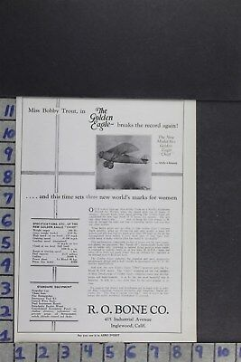 1929 Aviation Aircraft Plane Pilot Golden Eagle Chief Bobby Trout Ad Zn007