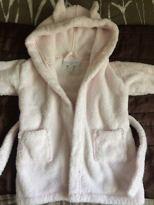 Little White Company Pink Dressing Gown 6-12 Months Hood