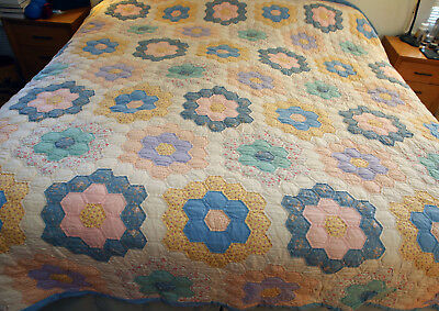 Lovely Vintage Hand Sewn Quilt Grandmother's Flower Gdn.Vintage cottons Q/K size
