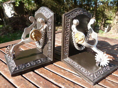 Lovely Pair Of Vintage Metal & Wood American Cowboy Spur Bookends.