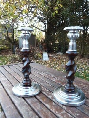 Lovely Pair Of Vintage Art Deco Chrome & Oak Barley Twist Candlesticks.