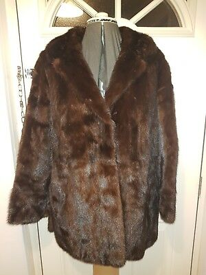 Vintage Brown Real Mink Fur Coat With Dasco Clips Ladies Size 10-12