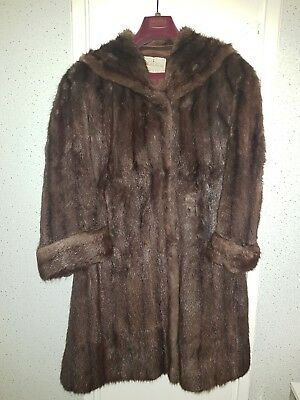 J.Marks & Sons Vintage MINK FUR COAT Ladies Knee Length Size 12-14