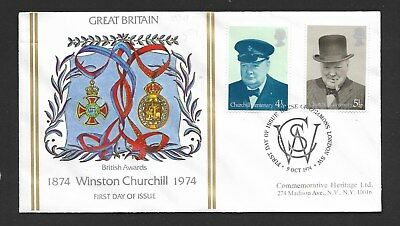 GB 1974 Churchill - two stamps SG 962-3 on FDC ( see descrip)