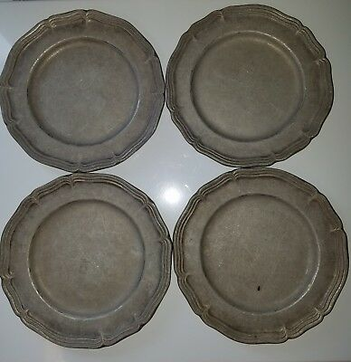 """Set of (4) 1974 Country Ware Pewter Plate 9"""""""