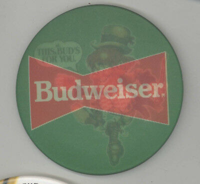 Vintage BUDWEISER Flasher PINBACK Pin BUTTON Badge ST PATRICK'S DAY Beer BREWERY