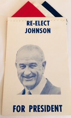 "3 1/4"" X 5"" Re-Elect Johnson (LBJ) For President Cardboard Pocket Campaign Item"