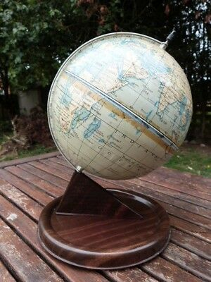 Lovely Vintage Mid Century Desk Top Metal Tin Globe By Chad Valley.