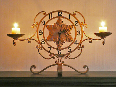 Vintage Mantel Clock with Wrought Iron Scrolling and Candles Unique Upcycled