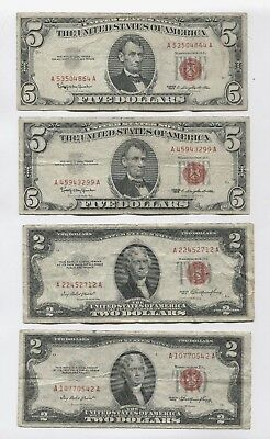 Nice Lot #1 $5 Red Seal 1963 $2 Bill Notes 1953 Currency, Penny Start, NR!