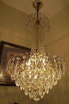 Antique Vnt French Waterfall Style Brilliant Crystal Chandelier Lamp 1960's 17in