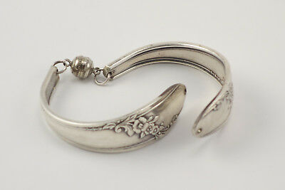 Beautiful Vintage Sterling Silver Spoon Bracelet Cuff Magnetic Clasp