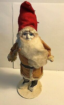 Vintage  PAPER MACHE SANTA 9 3/4'' Tall Figure with Tree and Toy Bag