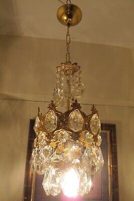 Antique Vintage small French Basket style Crystal Chandelier Lamp 1940's 7 in