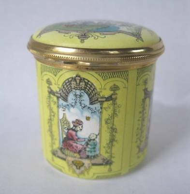 Vintage Halcyon Days English Enamel Chinoiserie Scenic Covered Tall Trinket Box