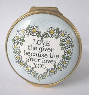 Vintage Cartier English Enamel Love The Giver Motto Covered Tall Trinket Box