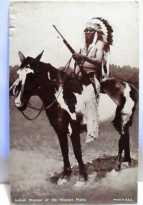 1940s ARCADE POSTCARD INDIAN WARRIOR OF THE WESTERN PLAINS,WITH HORSE & RIFLE