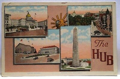 """1915  Large Letter Postcard """" The Hub """" 4 Identified Sites Of Boston Mass"""