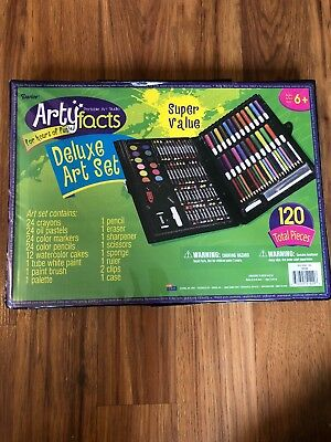 Darice 120-Piece Deluxe Art Set – Art Supplies for Drawing, Painting and More