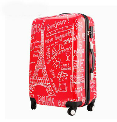A912 Paris Eiffel Tower Graffiti Universal Wheel Red Suitcase 24 Inches W