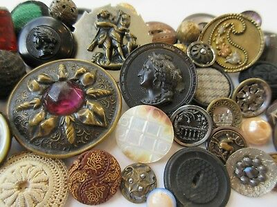 HUGE Lot of Antique~ Vtg BUTTONS Victorian Metal Picture GLASS Cloth MOP (BB)