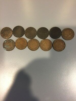 Canadian Large Cents 1888-1919, 11 different dates