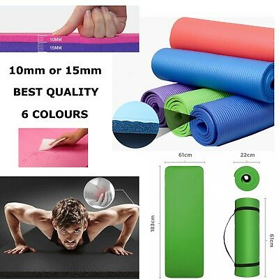 10Mm 15Mm Thick Gym Yoga Mat Fitness Pilates Workout Gymnastics + Carrier Strap